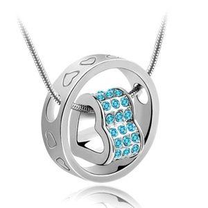 Heart Sky Blue Crystal Charm Pendant Chain